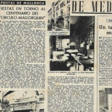 Coleccionismo: AÑO 1952 RECORTE PRENSA FIESTAS CENTENARIO DEL CIRULO MALLORQUIN. Lote 166847274
