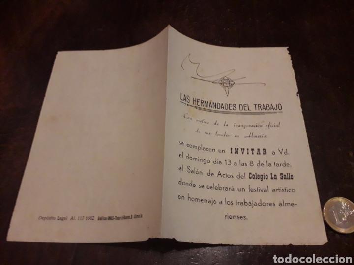 INVITACIÓN FESTIVAL HOMENAJE A LOS TRABAJADORES ALMERIENSES. COLEGIO LA SALLE. ALMERÍA. COROS RENFE (Coleccionismo - Laminas, Programas y Otros Documentos)