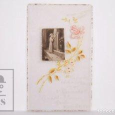 Coleccionismo: ANTIGUO RECORDATORIO PRIMERA COMUNIÓN PINTADO A MANO - MADRID, AÑO 1954. Lote 167317248
