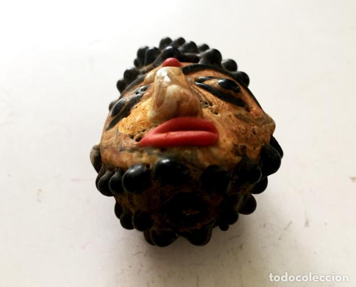 Coleccionismo: Antigua cuenta abalorio cara Fenicio hecha a mano, Más de 200 años - Hand carved face bead - Foto 3 - 167505260