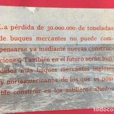 Collezionismo: 2ª GUERRA MUNDIAL LAMINA INFORMATIVA. PERDIDA DE 30.000.000. DE TONELADAS DE BUQUES. Lote 167720556