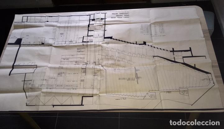UNICO - PLANO SYDNEY OPERA HOUSE THEATRE - ARQUITECTURA - JØRN UTZON - 133X77CM - SIDNEY (Coleccionismo - Laminas, Programas y Otros Documentos)