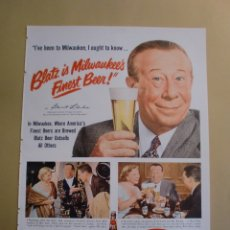 Coleccionismo: ANUNCIO CERVEZAS BLATZ MILWAUKEE´S FINEST BEER - PLUMAS EVERSHARP - LIFE 21 ABRIL 1952. Lote 168310140