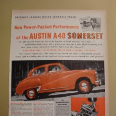 Coleccionismo: NEW POWER PACKED PERFOMANCE OF THE AUSTIN A40 SOMERSET - 1 DICIEMBRE 1952. Lote 168554172