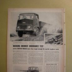 Coleccionismo: AUSTIN TRUCK BUCKING BRONCO ENDURANCE TEST - BLUE GILETTE BLADES - LIFE 24 JUNIO 1957. Lote 168629792