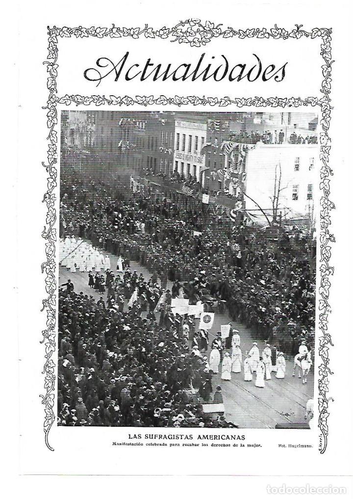 AÑO 1913 RECORTE PRENSA LAS SUFRAGISTAS AMERICANAS VOTO FEMENINO MANIFESTACION DERECHOS DE LA MUJER (Coleccionismo - Laminas, Programas y Otros Documentos)
