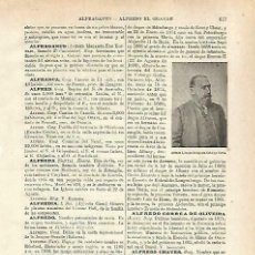 Coleccionismo: LAMINA ESPASA 33754: ALFREDO I, DUQUE DE SAJONIA. Lote 168952010