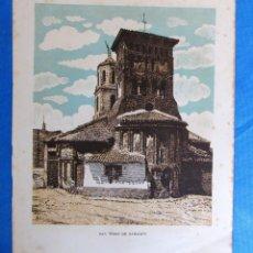 Coleccionismo: LÁMINA CON LA IMAGEN DE LA IGLESIA DE SAN TIRSO, SAHAGÚN, LEÓN. DE LAS MARAVILLAS DE ESPAÑA. 1910'S.. Lote 169574576