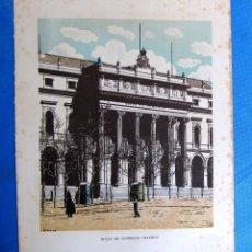 Coleccionismo: LÁMINA CON LA IMAGEN DE LA BOLSA DE COMERCIO, MADRID. DE LAS MARAVILLAS DE ESPAÑA. 1910'S.. Lote 169575360