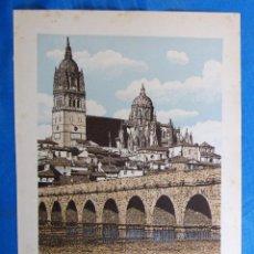 Coleccionismo: LÁMINA CON LA IMAGEN DEL PUENTE ROMANO SOBRE EL TORMES, SALAMANCA. LAS MARAVILLAS DE ESPAÑA. 1910'S.. Lote 169575652