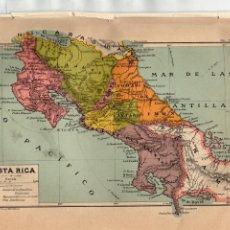 Coleccionismo: ANTIGÜA LÁMINA SALVAT - PLANO DE COSTA RICA - FERROCARRILES, ETC. Lote 169762712