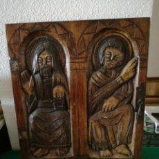 Coleccionismo: TABLA MADERA TALLADA MOTIVO RELIGIOSO. Lote 169872114