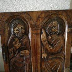 Coleccionismo: TABLA DE MADERA TALLADA EN MOTIVO RELIGIOSO. Lote 169872429