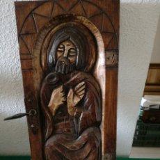 Coleccionismo: TABLA DE MADERA TALLADA MOTIVO RELIGIOSO. Lote 169872837