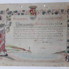 Coleccionismo: AYUNTAMIENTO DE LA VILLA DE SANTOÑA. DIPLOMA DIBUJADO Y PINTADO A MANO. 1942. Lote 170214630