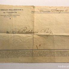 Coleccionismo: VALENCIA. DOCUMENTO ENTREGA TICKETS SOCIEDAD FILARMÓNICA DE VALENCIA. Lote 170316373