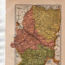 Coleccionismo: ANTIGUA LÁMINA SALVAT .- MAPA DE ARAGÓN - CAMINOS MUNICIPALES - FERROCARRILES EN CONSTRUCCIÓN. Lote 170433076