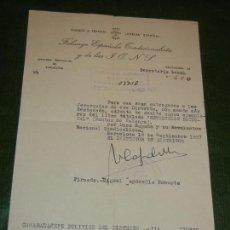 Coleccionismo: ESCRITO ENTREGA DE LIBROS - MEMBRETE FALANGE JEFATURA PROVINCIAL DE BARCELONA 1957. Lote 170450072