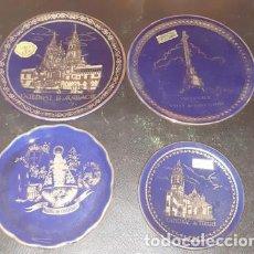 Coleccionismo: LOTE DE 4 PLATITOS SOUVENIRS DE PORCELANA Y ORO DE LEY. Lote 171221729