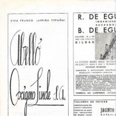 Coleccionismo: AÑO 1939 PUBLICIDAD ABELLO OXIGENO LINDE BARCELONA SALUDO FRANQUISTA VIVA FRANCO ARRIBA ESPAÑA. Lote 171443818