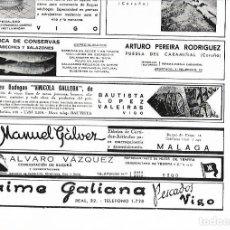 Coleccionismo: AÑO 1939 PUBLICIDAD CONSERVAS ARTURO PEREIRA RODRIGUEZ PUEBLA DEL CARAMIÑAL BODEGAS VINICOLA GALLEGA. Lote 171445714