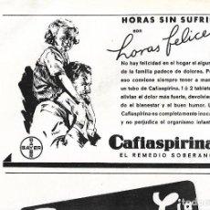 Coleccionismo: AÑO 1939 RECORTE PRENSA PUBLICIDAD CAFIASPIRINA BAYER CALMANTE PRODUCTOS FARMACEUTICOS. Lote 171446160