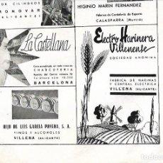 Coleccionismo: AÑO 1939 PUBLICIDAD LA CASTELLANA CHARCUTERIA BARCELONA VILLENA HIJOS LUIS GARCIA POVEDA VINOS . Lote 171447502