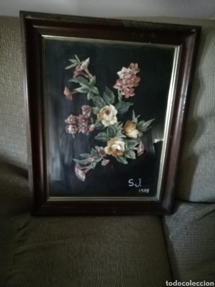 Coleccionismo: Cuadro de flores S. J. 1988. FLORES ENTRELAZADAS - Foto 2 - 171453625