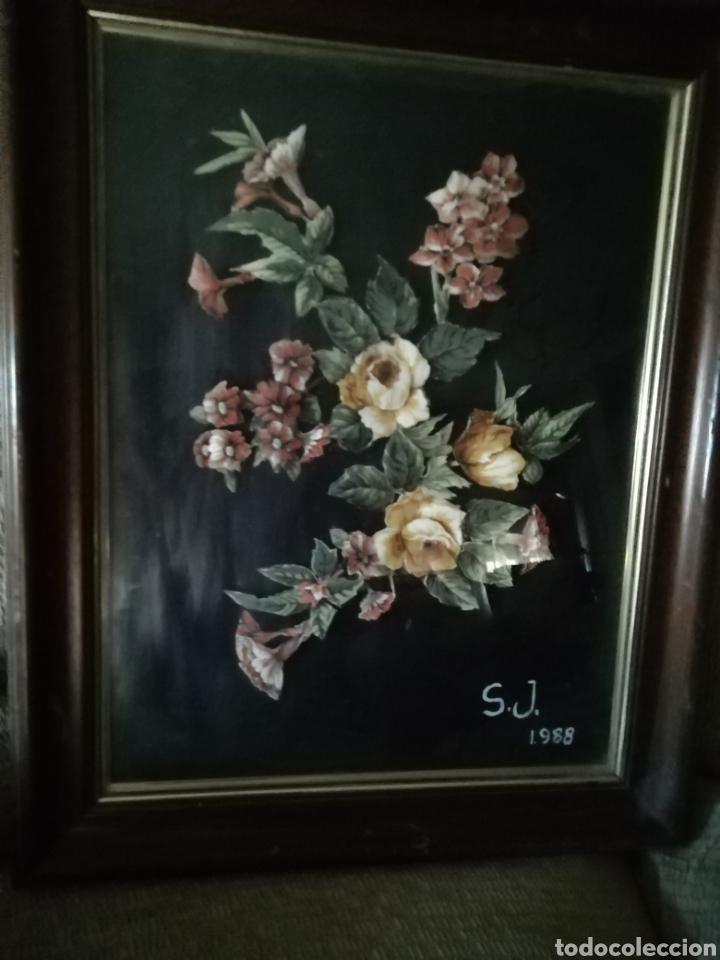 Coleccionismo: Cuadro de flores S. J. 1988. FLORES ENTRELAZADAS - Foto 4 - 171453625