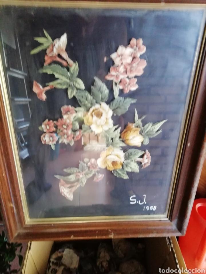 Coleccionismo: Cuadro de flores S. J. 1988. FLORES ENTRELAZADAS - Foto 5 - 171453625