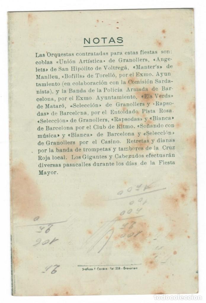Coleccionismo: Fiesta Mayor de Granollers 24-25-26-27 y 28 Agosto 1949 - Foto 2 - 171513932