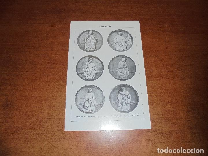 Coleccionismo: ANTIGUA LÁMINA: APÓSTOLES I, II, III Y IV ESMALTES DE LIMOGES Y MEDALLONES DE LOZA VIDRIADA POR L. D - Foto 3 - 171640295