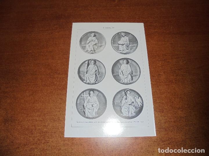 Coleccionismo: ANTIGUA LÁMINA: APÓSTOLES I, II, III Y IV ESMALTES DE LIMOGES Y MEDALLONES DE LOZA VIDRIADA POR L. D - Foto 4 - 171640295