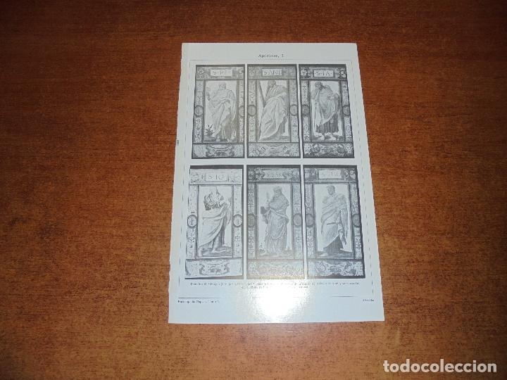 ANTIGUA LÁMINA: APÓSTOLES I, II, III Y IV ESMALTES DE LIMOGES Y MEDALLONES DE LOZA VIDRIADA POR L. D (Coleccionismo - Laminas, Programas y Otros Documentos)