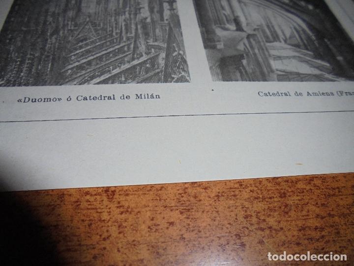 Coleccionismo: ANTIGUA LÁMINA: ARBOTANTE. CATEDRAL DE ÁVILA. CHARTRES. REIMS. MILÁN. AMIENS. IGLESIA DE LOUVIERS - Foto 5 - 171640740