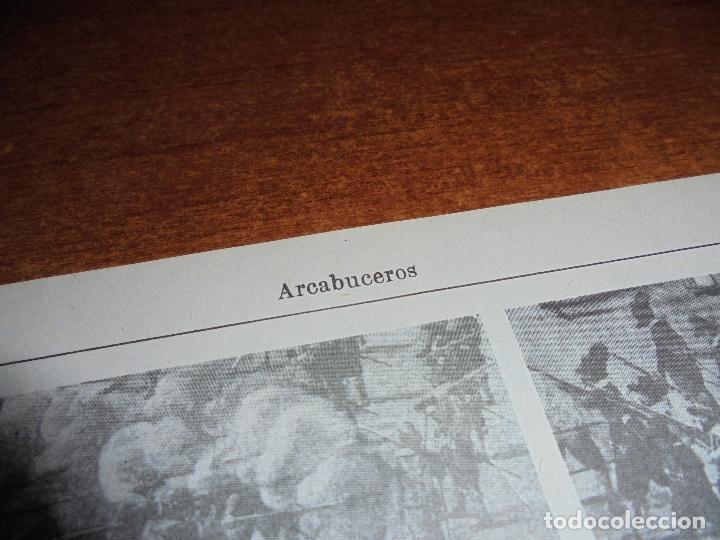 Coleccionismo: ANTIGUA LÁMINA: ARCABUCEROS. - Foto 2 - 171640754