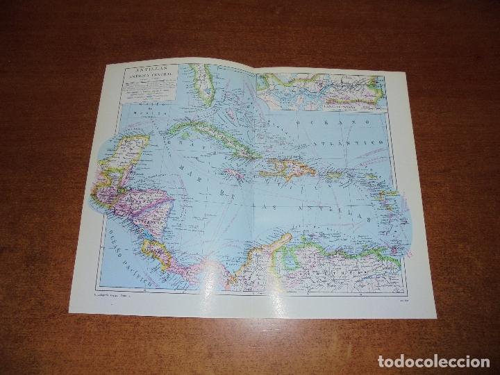 ANTIGUA LÁMINA: MAPAS ANTILLA Y AMÉRICA CENTRAL. CANAL DE PANAMÁ. (Coleccionismo - Laminas, Programas y Otros Documentos)