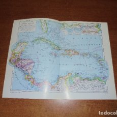 Coleccionismo: ANTIGUA LÁMINA: MAPAS ANTILLA Y AMÉRICA CENTRAL. CANAL DE PANAMÁ.. Lote 171641895