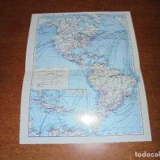 Coleccionismo: ANTIGUA LÁMINA: MAPA DE LAS COMUNICACIONES DE AMÉRICA. . Lote 171642404