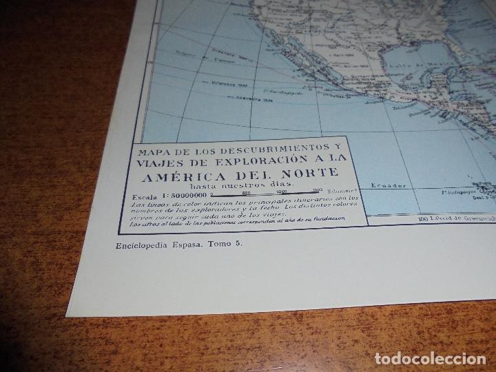 Coleccionismo: ANTIGUA LÁMINA: MAPA DESCUBRIMIENTOS Y EXPLORACIÓN AMÉRICA DEL NORTE, CENTRO Y SUR - Foto 2 - 171642440