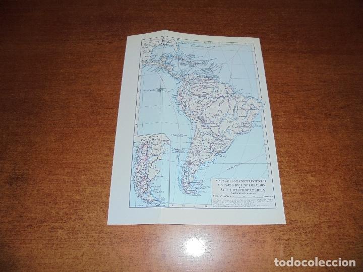 Coleccionismo: ANTIGUA LÁMINA: MAPA DESCUBRIMIENTOS Y EXPLORACIÓN AMÉRICA DEL NORTE, CENTRO Y SUR - Foto 3 - 171642440