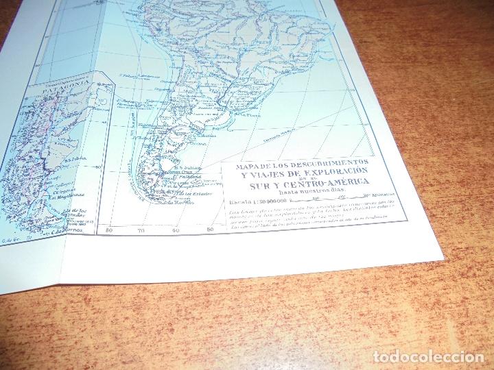 Coleccionismo: ANTIGUA LÁMINA: MAPA DESCUBRIMIENTOS Y EXPLORACIÓN AMÉRICA DEL NORTE, CENTRO Y SUR - Foto 4 - 171642440