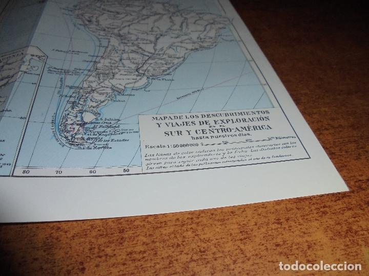 Coleccionismo: ANTIGUA LÁMINA: MAPA DESCUBRIMIENTOS Y EXPLORACIÓN AMÉRICA DEL NORTE, CENTRO Y SUR - Foto 5 - 171642440