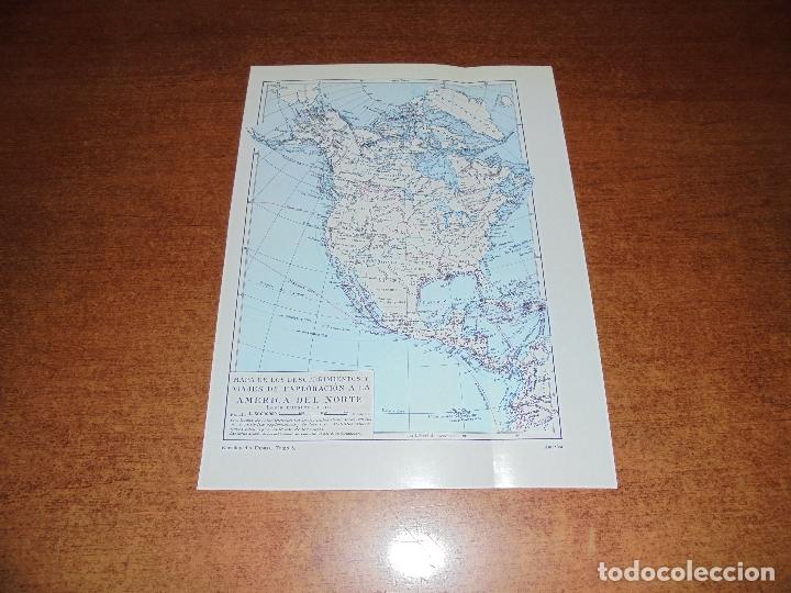 ANTIGUA LÁMINA: MAPA DESCUBRIMIENTOS Y EXPLORACIÓN AMÉRICA DEL NORTE, CENTRO Y SUR (Coleccionismo - Laminas, Programas y Otros Documentos)