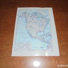 Coleccionismo: ANTIGUA LÁMINA: MAPA DESCUBRIMIENTOS Y EXPLORACIÓN AMÉRICA DEL NORTE, CENTRO Y SUR. Lote 171642440