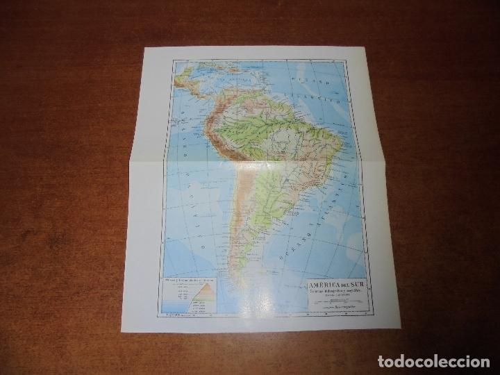Coleccionismo: ANTIGUA LÁMINA: MAPA SISTEMAS HIDROGRÁFICO Y OROGRÁFICO DE AMÉRICA DEL NORTE Y DEL SUR. - Foto 3 - 171642500