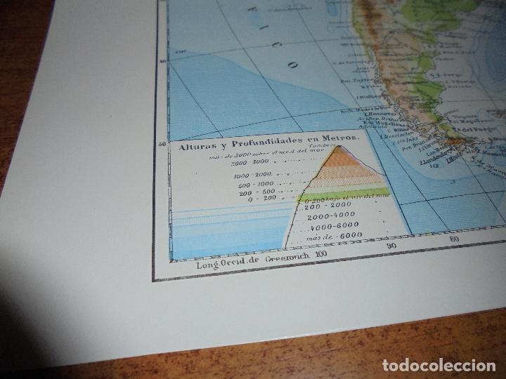 Coleccionismo: ANTIGUA LÁMINA: MAPA SISTEMAS HIDROGRÁFICO Y OROGRÁFICO DE AMÉRICA DEL NORTE Y DEL SUR. - Foto 5 - 171642500