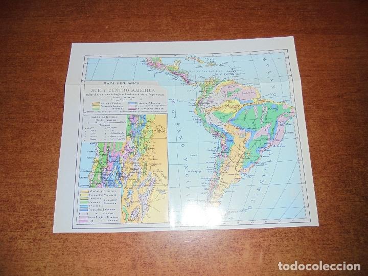 Coleccionismo: ANTIGUA LÁMINA: MAPA GEOLÓGICO DE LA AMÉRICA DEL NORTE Y DEL SUR Y CENTRO AMÉRICA - Foto 4 - 171642518