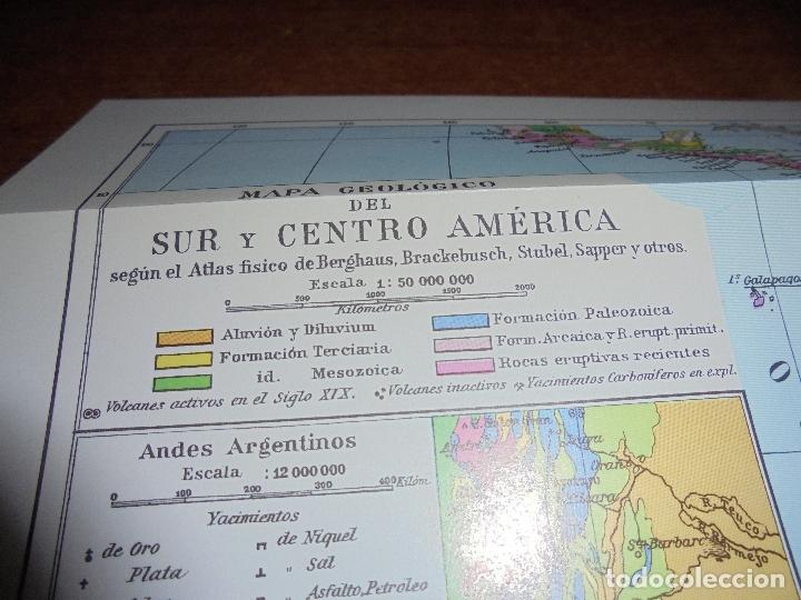 Coleccionismo: ANTIGUA LÁMINA: MAPA GEOLÓGICO DE LA AMÉRICA DEL NORTE Y DEL SUR Y CENTRO AMÉRICA - Foto 5 - 171642518