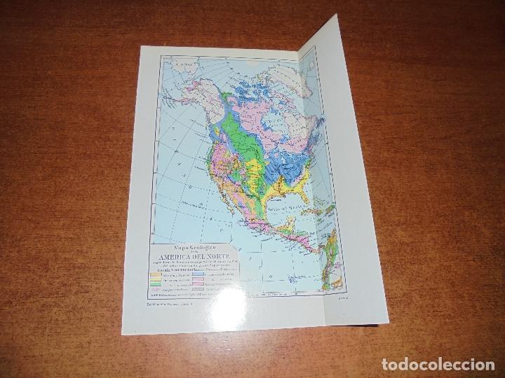 ANTIGUA LÁMINA: MAPA GEOLÓGICO DE LA AMÉRICA DEL NORTE Y DEL SUR Y CENTRO AMÉRICA (Coleccionismo - Laminas, Programas y Otros Documentos)